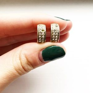 Vintage small two-tone & rhinestone hoop earrings